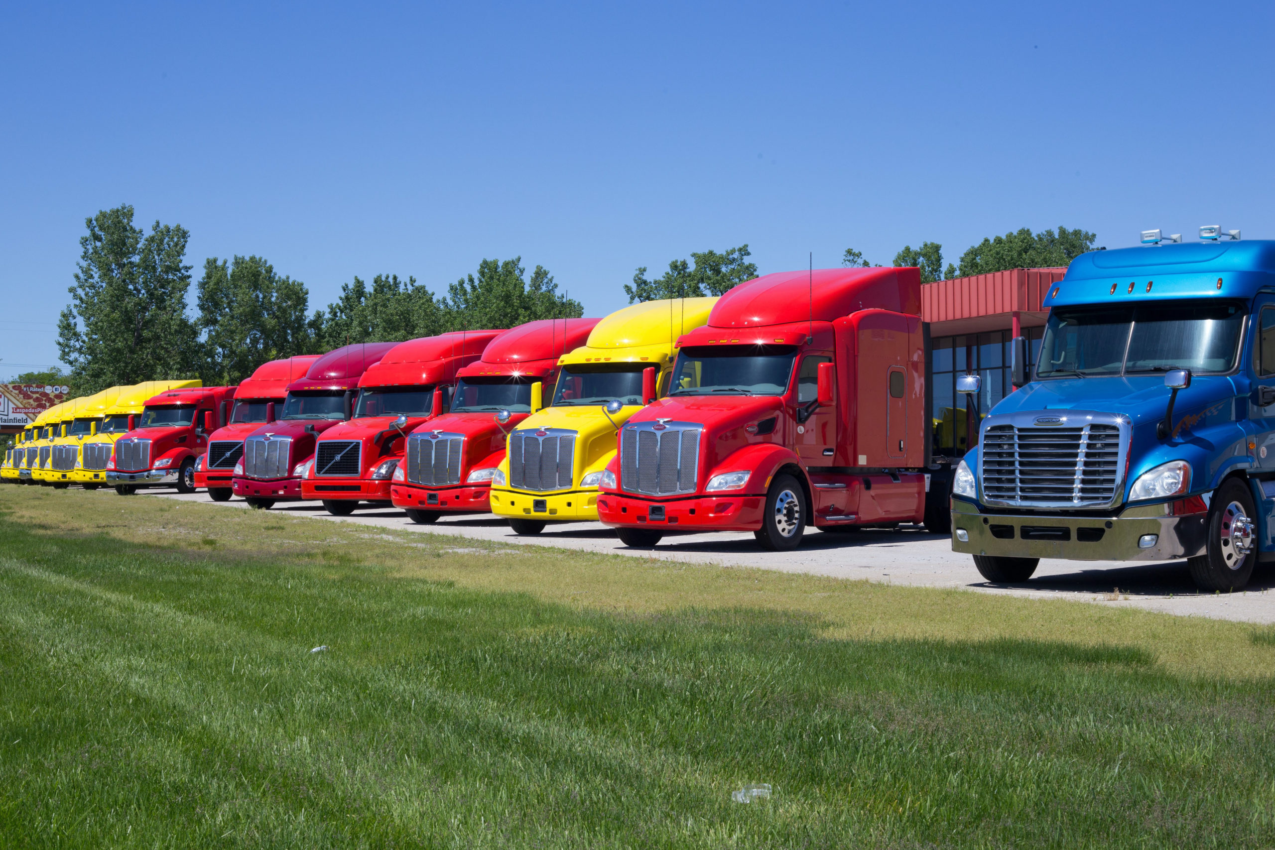 Lineup of Semi Trucks