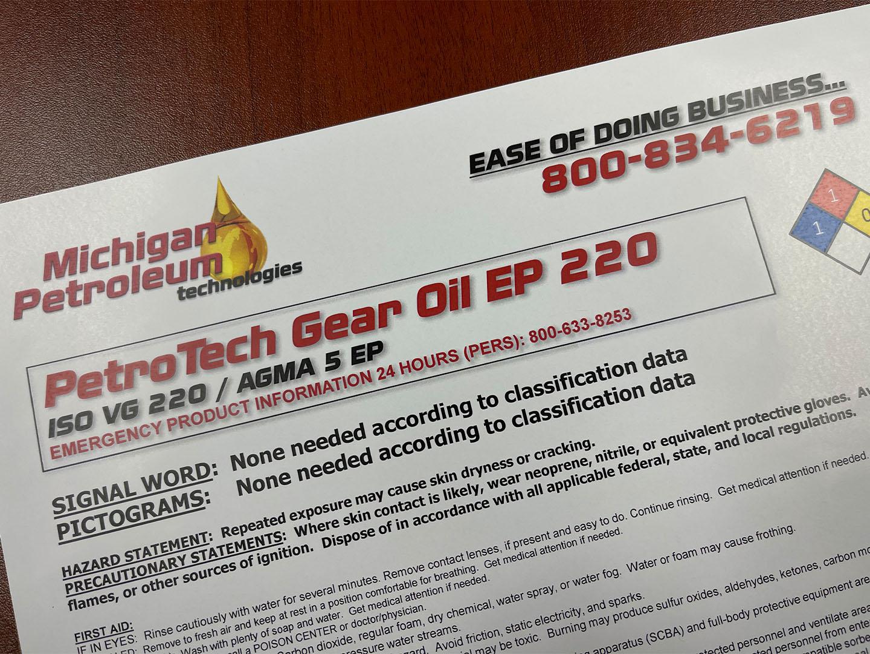 PetroTech Gear Oil EP 220 Label