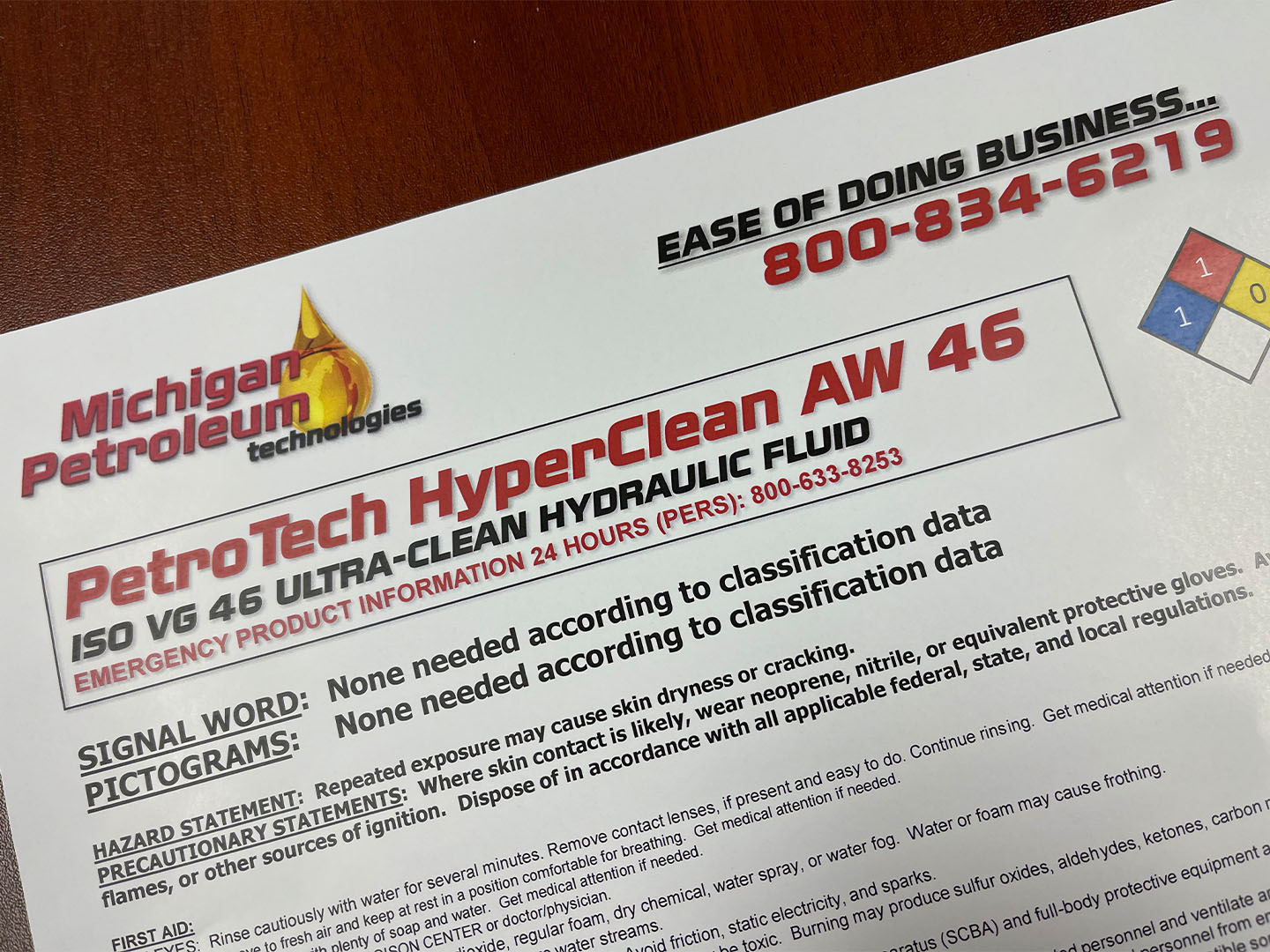 PetroTech HyperClean AW 46 Label